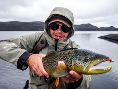 Brown trout fishing in iceland, highlands