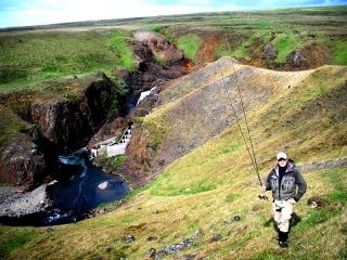 Kambsfoss. River Midfjardara,Fly fishing salmon in Iceland