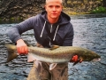 Oliver with nice salmon