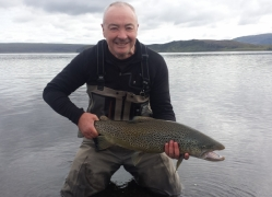 Paul Ryder with huge trout,Lake Thingvellir,trout fishing in Iceland
