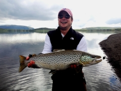 Watt Boone with 7kg trout, monster trout in Iceland