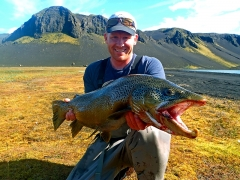 8.2Kg trout from Lakes Veiðivötn