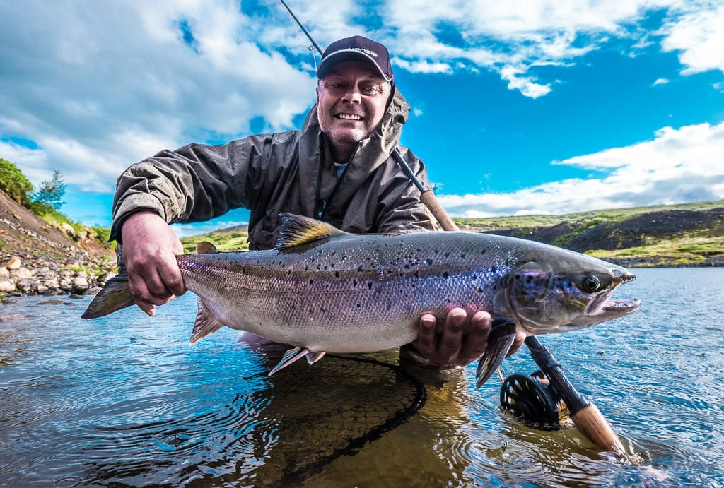Salmon fishing, on Sydri-Bru, beat.Sog,river,Iceland