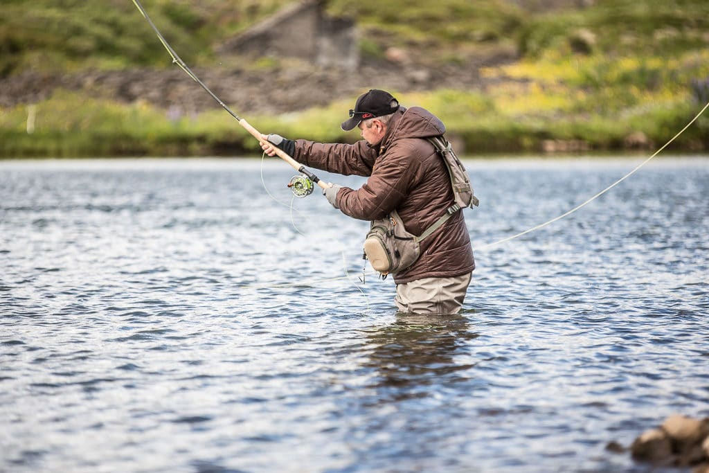 Salmon fishing, on Sydri-Bru, beat.Sog,river,Iceland
